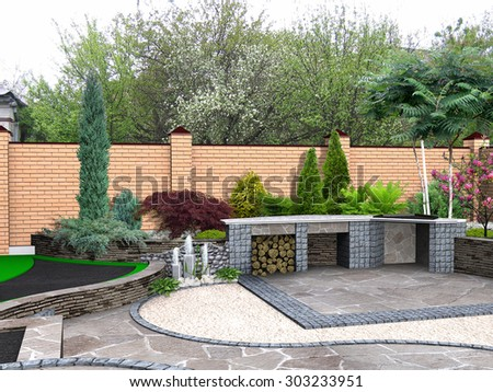 Landscaping recreational space plant groupings, 3D render integrated into environment