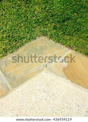 Landscaping Textures - Paving / Turf Edge (Aerial View, Abstract, Coastal Landscaping / Hard Landscaping Textures / Soft Landscaping Textures) - stock photo