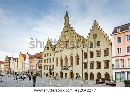 LANDSHUT, GERMANY - MARCH 31. Tourists at the historic town hall in Landshut, Germany on March 31, 2016. Landshut is the largest city of lower Bavaria.  - stock photo