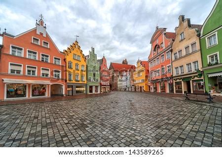 Landshut, old german gothic town near Munich - stock photo