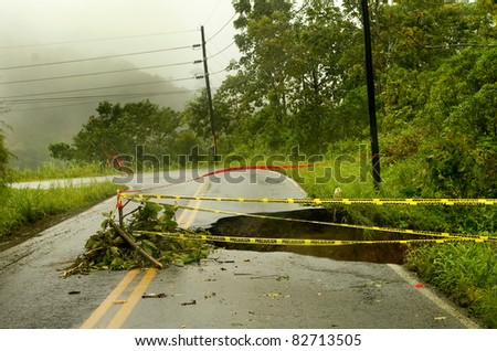 landslide in a road in Costa Rica - stock photo