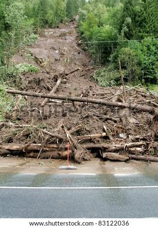 Landslide on the highway - stock photo