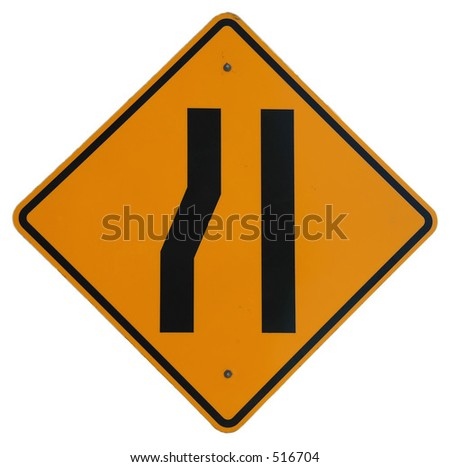 Lane Ends graphic - stock photo