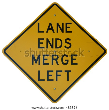 Lane Ends - Merge Left sign - stock photo