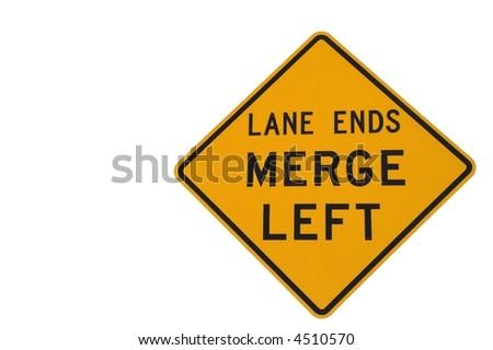 Lane ends merge left sign on white to warn of lane ending soon - stock photo