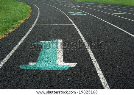 Lane One Track Curve - running track curves to left