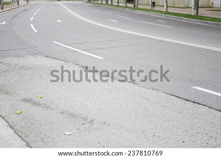 Lane road in town, transport and signals - stock photo