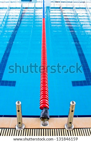 Lane ropes in  swimming pool - stock photo