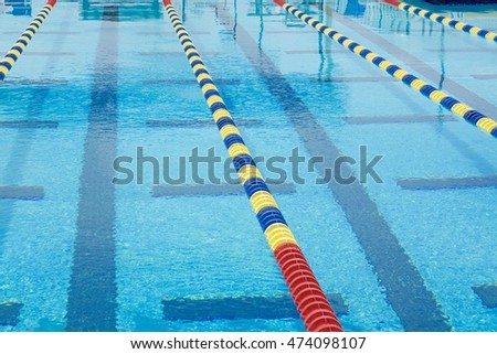 Lanes In A Competition Olympic Size Swimming Pool