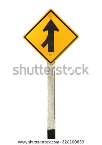 Lanes merging left traffic sign - stock photo