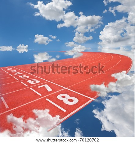 lanes of running track into the sky - stock photo