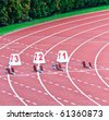 Lanes 1 through 3 equiped with starting blocks for the 100m dash - stock photo