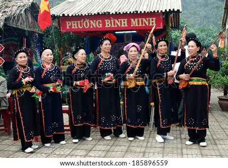 LANG SON, VIETNAM, March, 10: a group of ethnic minority women in Lang Son known Tay was playing Tinh and cashew Then on March, 10, 2014 in Lang Son, Vietnam.  - stock photo
