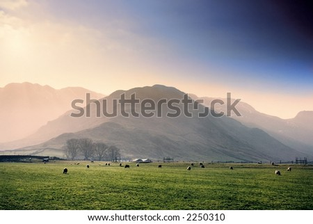 langdale valley crinkle crags fells behind english lake district - stock photo