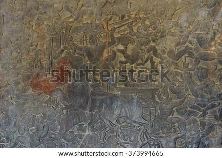 Langka battle, carved  bas relief based on Hindu myth Ramayana, - stock photo