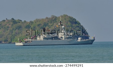 LANGKAWI, MALAYSIA - MARCH 17: KD Kasturi (F25) from Royal Malaysian Navy, during The Langkawi International Maritime & Aerospace Exhibition (LIMA 2015) at Langkawi Malaysia on 17 March, 2015  - stock photo