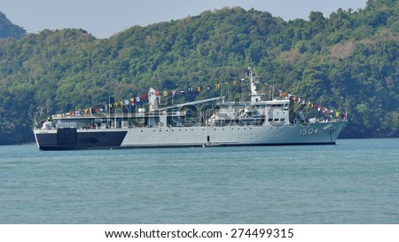 LANGKAWI, MALAYSIA - MARCH 17: KD Mahawangsa (1504) from Royal Malaysian Navy, during The Langkawi International Maritime & Aerospace Exhibition (LIMA 2015) at Langkawi Malaysia on 17 March, 2015