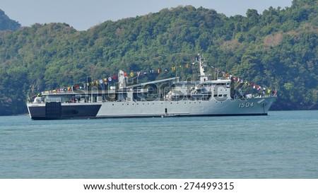 LANGKAWI, MALAYSIA - MARCH 17: KD Mahawangsa (1504) from Royal Malaysian Navy, during The Langkawi International Maritime & Aerospace Exhibition (LIMA 2015) at Langkawi Malaysia on 17 March, 2015  - stock photo