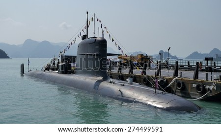 LANGKAWI, MALAYSIA - MARCH 17: Sub marine KD Tar (Scorpene) from Royal Malaysian Navy, during The Langkawi International Maritime & Aerospace Exhibition at Langkawi Malaysia on 17 March, 2015  - stock photo
