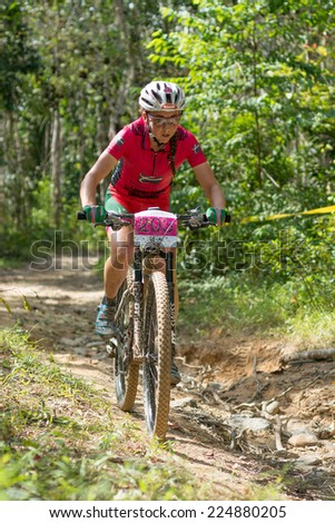 LANGKAWI, MALAYSIA - 16 OCTOBER 2014:  Eva Lechner  of Colnago Sudtirol Team in at Tradewinds LIMBC 2014 on October 16, 2014.  - stock photo