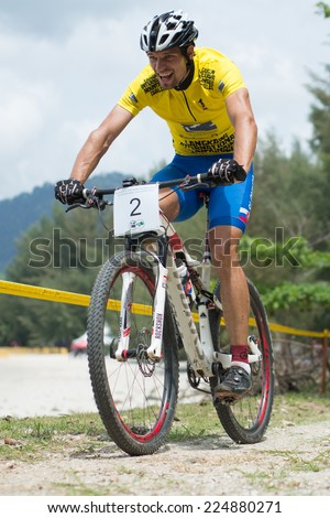 LANGKAWI, MALAYSIA - 18 OCTOBER 2014:  Michal Lami of Slovakia National team in action at Tradewinds LIMBC 2014 on October 18, 2014.