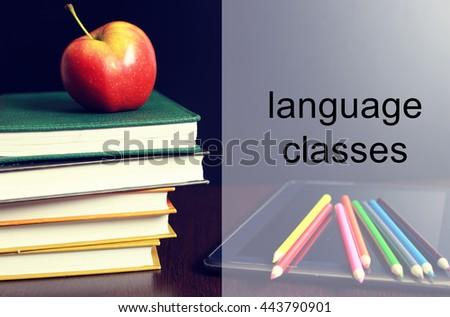 language classes apple book stack - stock photo