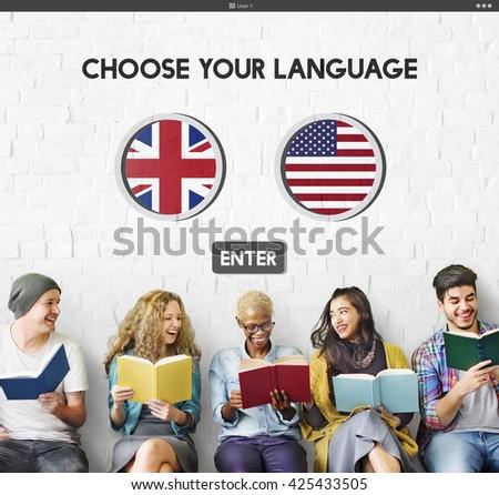 Language Dictionary English American Concept - stock photo