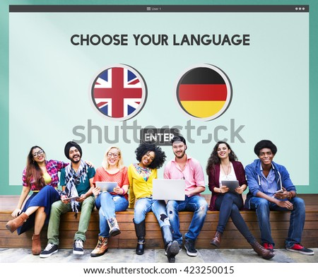 Language Dictionary English German Concept - stock photo