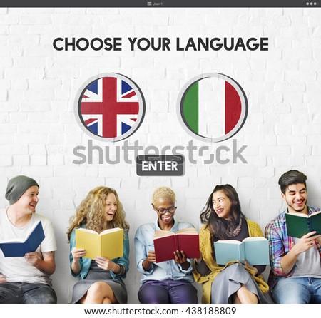 Language Dictionary English Italian Concept - stock photo