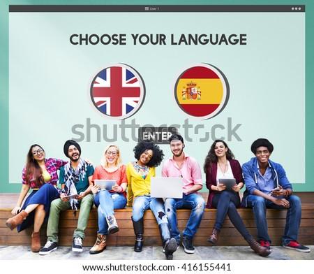 Language Dictionary English Spanish Concept - stock photo