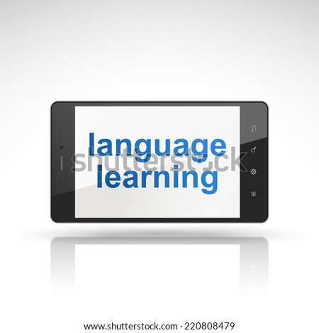 language learning words on mobile phone isolated on white - stock photo