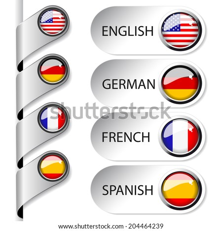 language pointer for web - english, german, french, spanish - stock photo