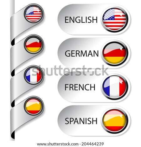 language pointer for web - english, german, french, spanish - stock photo
