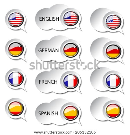 language pointer for web - speech bubbles, english, german, french, spanish