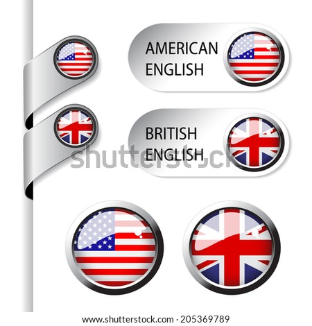 language pointers with flag - American and British English - stock photo