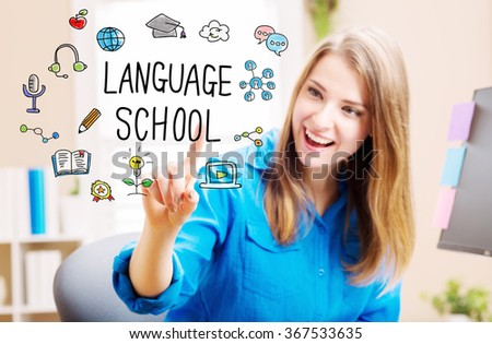 Language School concept with young woman in her home office - stock photo