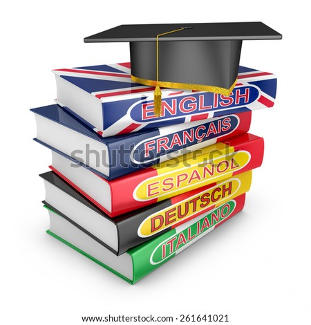 language textbooks with country flags and graduate cap