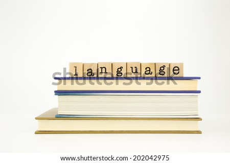 language word on wood stamps stack on books, academic and study concept - stock photo