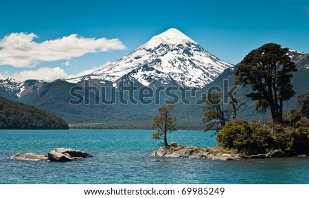 Lanin volcano with snowcapped in Patagonia Argentina - stock photo