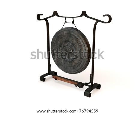 Lanna gong on white background - stock photo