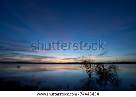 Lanscape after the sunset in th evening. - stock photo