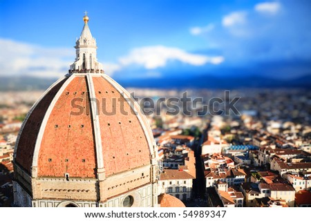 lanscape of dome of Duomo of Florence   with tilt shift lens effect - stock photo