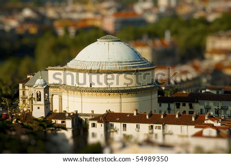 lanscape of Gran Madre church  with tilt shift lens effect - stock photo