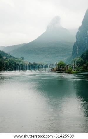Lanscape of Li River and limestone formations, Yangshuo, Guangxi, China - stock photo