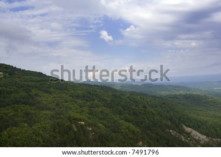 Lanscape of mountains on a summer day - stock photo