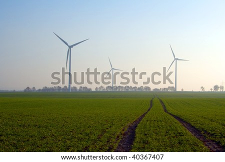 lanscape of wind turbines in poland pomerania