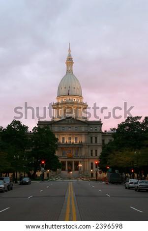 Lansing Capitol Sunset - stock photo