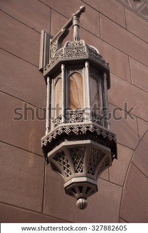 Lantern at the wall of Sultan Qaboos Grand Mosque, Oman