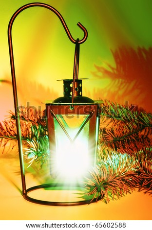 Lantern. Christmas decoration - stock photo