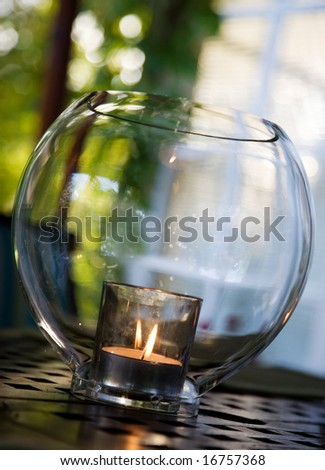 Lantern hanging with candle inside